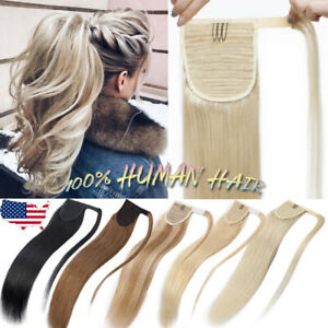 120g-Blonde-Black-Ponytail-Wrap-Aound-Clip-In-Real-Human-Hair-Extensions-US-K73