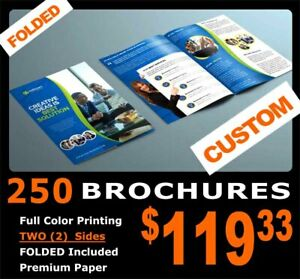 """250 BROCHURES Folded 2 Sides Full Color GLOSSY Thick Custom Free Ship 8.5""""x11"""""""