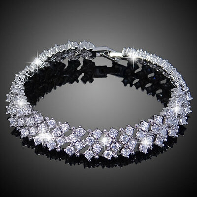 Art Deco Bridal 4 Rows Full Round Clear Zircon Bracelet Silver Plated Gift E746