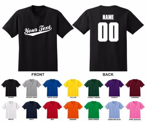Personalized Custom Your Text Name /& Number Adult T-shirt Baseball Script