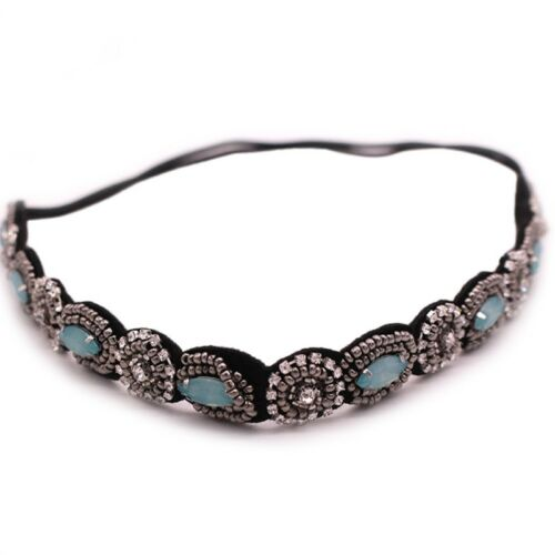 Womens Retro Rhinestone Stylish Beaded Elastic Headband Hair Band Party Casual