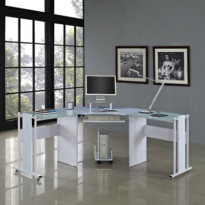 White Corner Computer Desk Home Office Furniture Modern Design