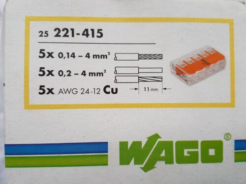 Wago Klemmen Serie 221-415 Leuchtenklemme Verbindungsklemme 25St.5x0,14-4 qmm