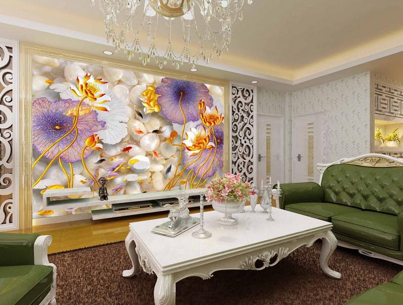 3D Goldener Lotus Fisch 743 Tapete Wandgemälde Tapete Tapeten Bild Familie DE