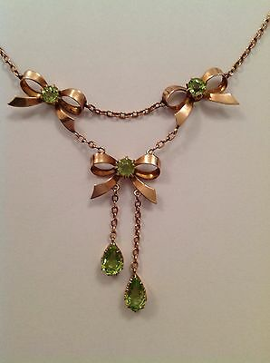 Beautiful Fine Victorian 9ct Gold Ribboned Bow Peridot Set Drop Necklace