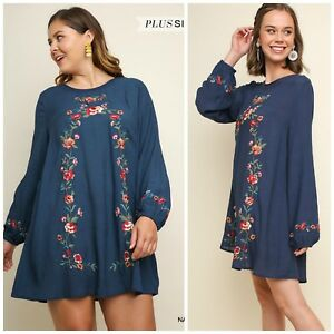 5c0cbfc918db NWT S-2X Umgee Long Sleeve Navy Blue Floral Embroidered Keyhole ...
