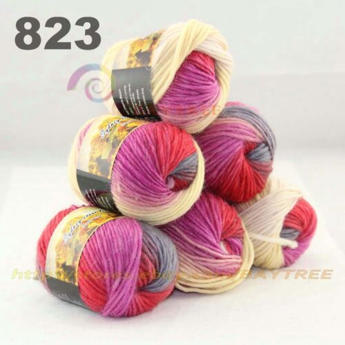 SALE LOT 6 Skeins x 50gr NEW Chunky Colorful Hand Knitting Scores Wool Yarn 823
