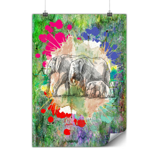 Elephant Family Matte//Glossy PosterWellcoda