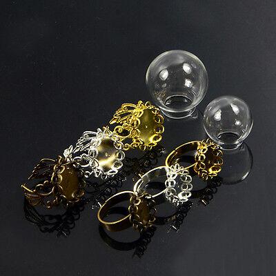 Globe Glass Creative Diy Jewelry Accessories Fillable Ring Pendant Locket Bottle