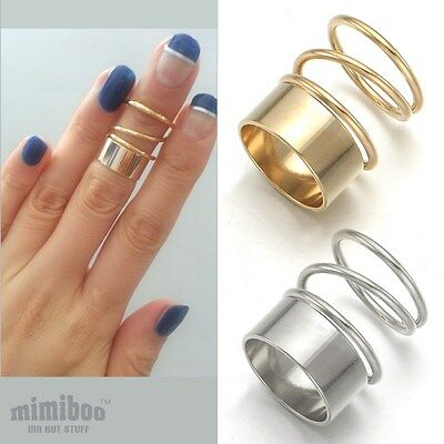 Shiny Coil Shaped Top of Finger Over The Midi Tip Finger Above Knuckle Band Ring