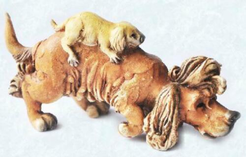 Scruff /& Puss Figurine #4249 Long Hair dog with puppy on his back