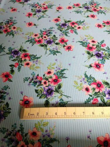 Floral Stripe Georgette Dress Fabric per metre
