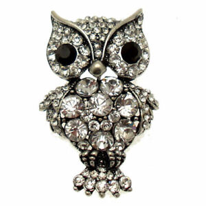Antique Silver Crystal Owl Brooch