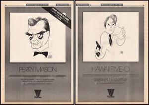 PERRY-MASON-HAWAII-FIVE-O-Orig-1986-2-sided-print-AD-poster-AL-HIRSCHFELD