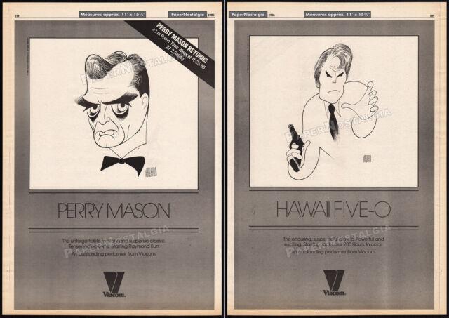 PERRY MASON_/_HAWAII FIVE-O__Orig. 1986 2-sided print AD / poster__AL HIRSCHFELD