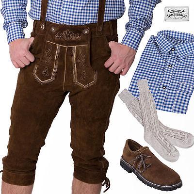 5-tlg.Trachtenset: Lederhose Kniebund dunkelbraun Gr.44-70 Hemd blau Socken lang