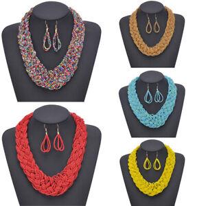 Womens-Bohemian-Pendant-Chain-Chunky-Collar-Statement-Bib-Necklace-Earrings-Set