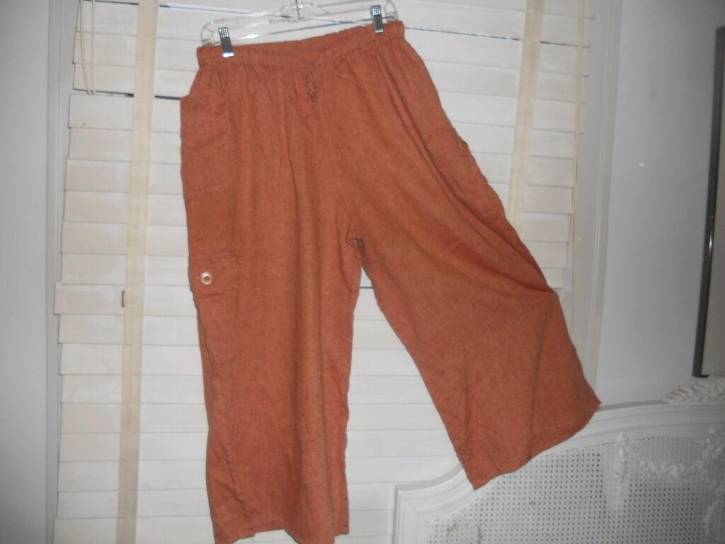 Flax Engelhart  Art To Wear  Orange Linen Cargo Crop Wide Leg Pant
