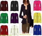 Womens Ladies Zip Peplum Ruffle Plus Size Tailored Blazer Jacket Top Size 6-24.