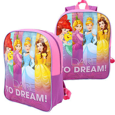 "DISNEY PRINCESS Dare to Dream 15/"" Backpack School Book Bag Lunch bag Kids Girl"