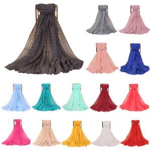 Women-Muslim-Hijab-Scarf-Cotton-Linen-Pleated-Shawl-Islam-Turban-Wrap-180-85cm