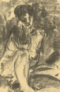 A.A. Graham-Bishop - Signed 20th Century Charcoal Drawing, Seated Male Nude