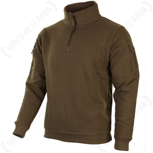 High collar headphone outlet patch Military Dark Coyote Sweatshirt with Zip