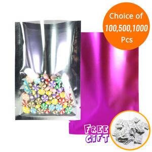 Blue Silver Foil Mylar Open Top Pouch Bag 3.5x5in w// Silica Gel Desiccant B05