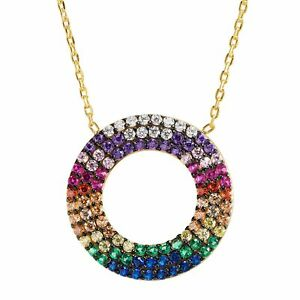 Open Circle Rainbow Cubic Zirconia Pendant Gold-Plated Sterling Silver, 16