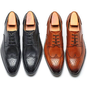 Fulinken-Sz-6-11-Real-Leather-Wingtip-Brogues-Oxfords-Lace-Up-Dress-Mens-Shoes