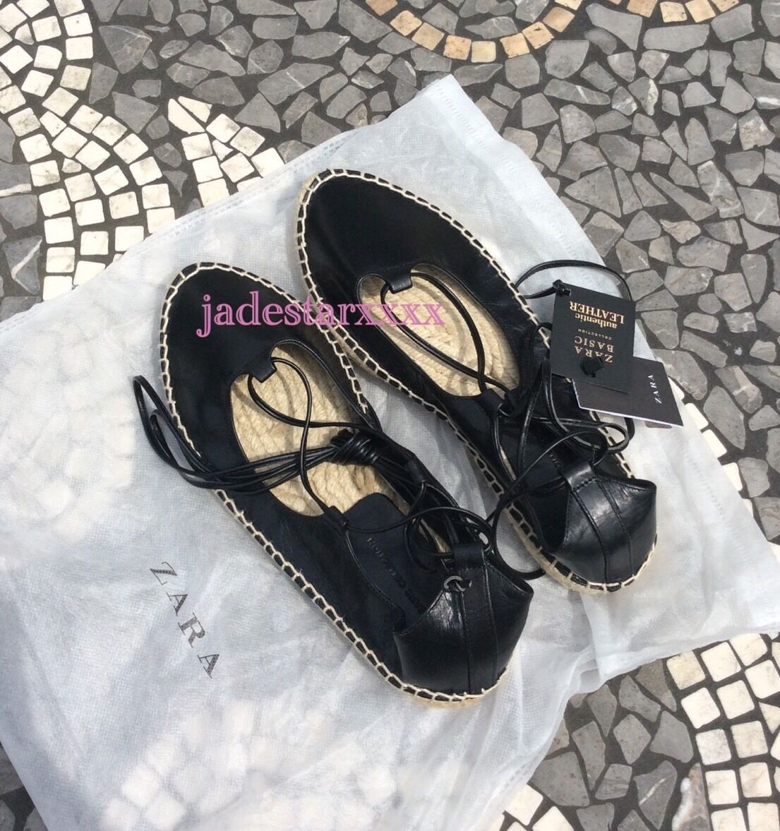 Zara Black Lace Up Up Up Espadrilles Flats New 5 38 shoes Leather BNWT 10b833
