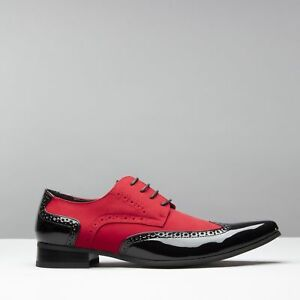 07c6d6aa9f5 Details about Mister Carlo ARTISTA Mens Formal Funky Pointed Faux  Suede/Patent Shoes Black/Red