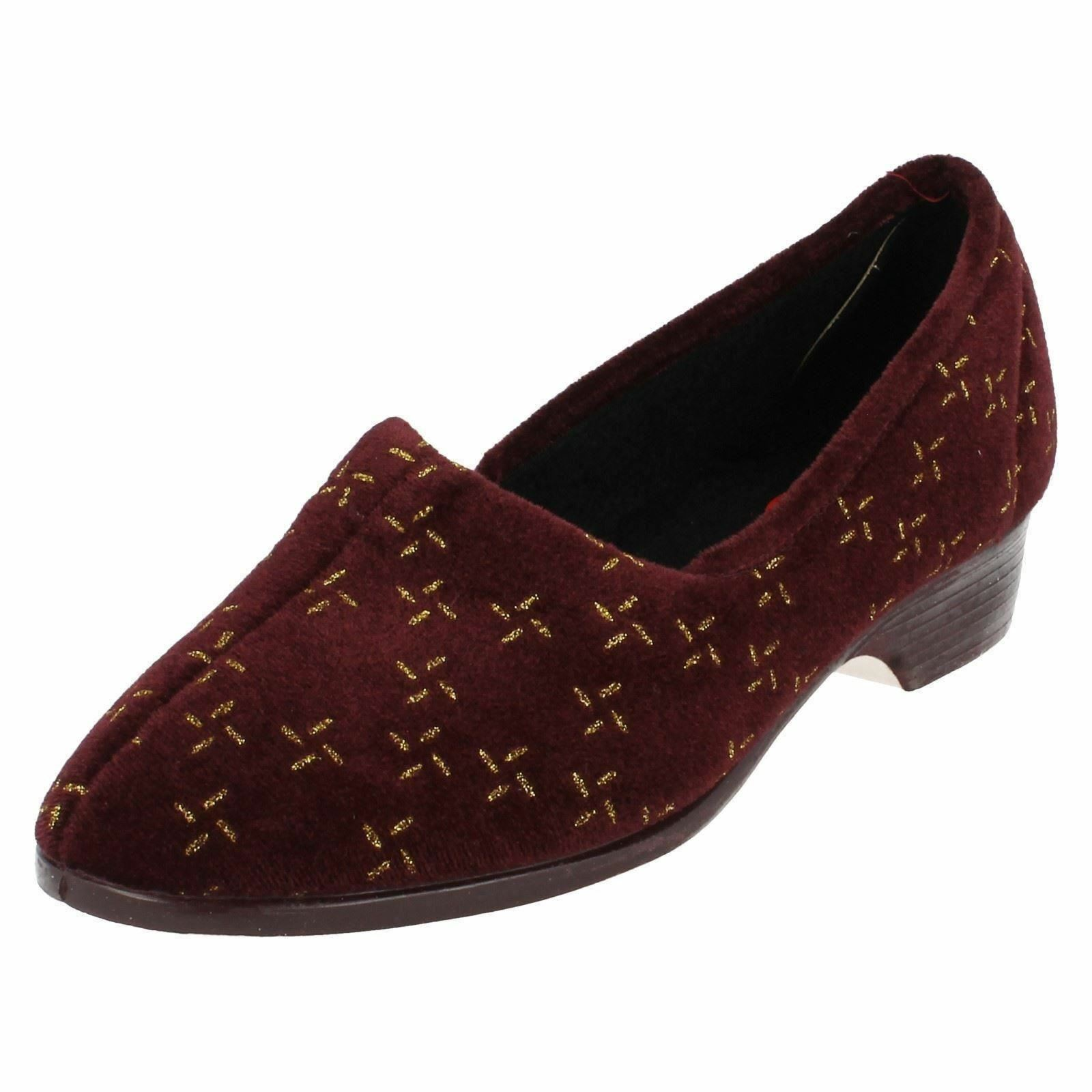 Ladies Ladylove Burgundy and Gold slippers   Elsa