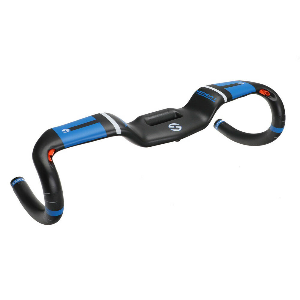 blueee Toseek Carbon Fiber AERO Handlebar Uplift Style Racing Drop Bar With Mount