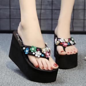 9ea110877 Womens High Wedge Heel Flip Flops Platform Fashion Slippers Beach ...