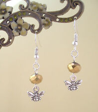 Cute Bee Charm and Gold Crystal Bead Short Drop Dangly Earrings