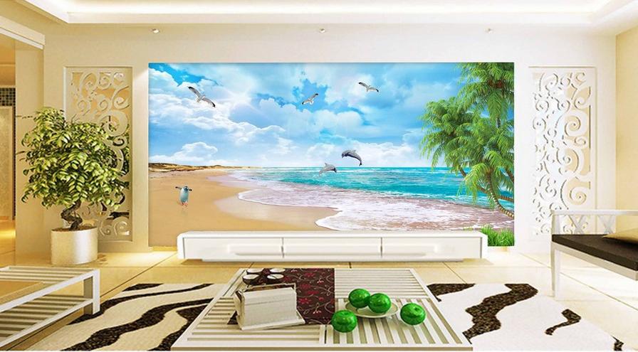 3D Pinguin Strand 875 Tapete Wandgemälde Tapete Tapeten Bild Familie DE Summer