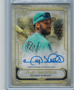 2021 Topps Tier One Gary Sheffield On Card Auto Autograph Card Marlins #/300
