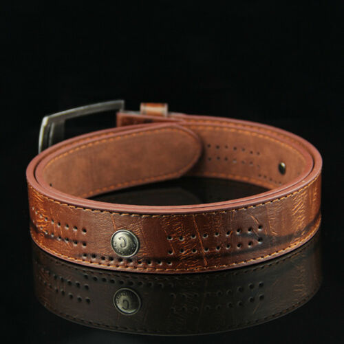 Men/'s Luxury Leather Waistband Belts Trousers Pin Buckle Waist Strap Punk Gift