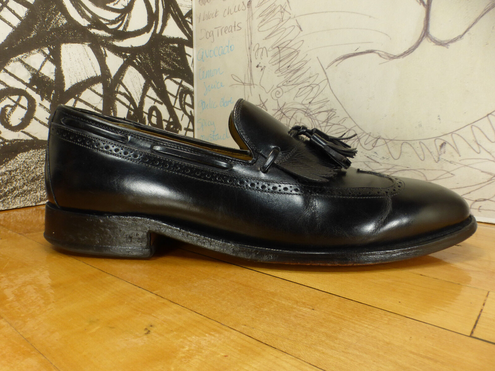 Johnston Murphy Black Leather 97210, Tassle Kiltie Loafers, 10C/A, 97210, Leather 24-8607 d83853