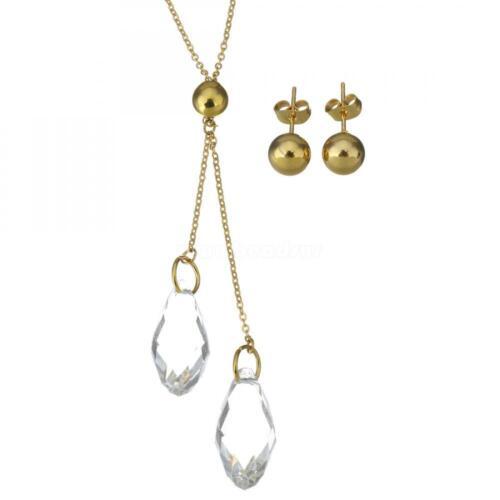 2019 fashion femmes de mariage en acier inoxydable Crystal Jewelry sets boucle d/'oreille Collier