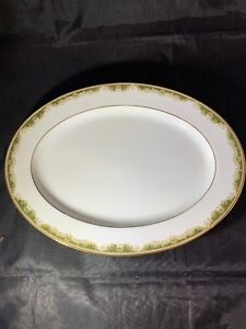 Noritake-China-Platter-Warrington-6872-Japan-13-1-2-EUC-White-Green-Gold-Trim