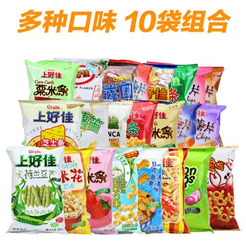 Puffed Snacks Shanghaojia Oishi Chinese Food膨化零食小吃 上好佳 虾片薯片虾条洋葱圈鱼果芝士条40g//袋 Hd214