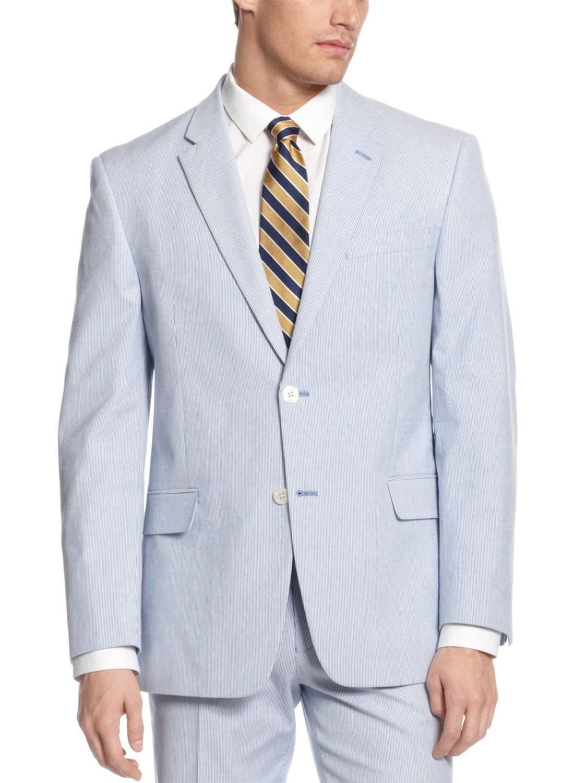 Tommy Hilfiger Blau Weiß Pincord Striped 100% Cotton Blazer Sportcoat 48L