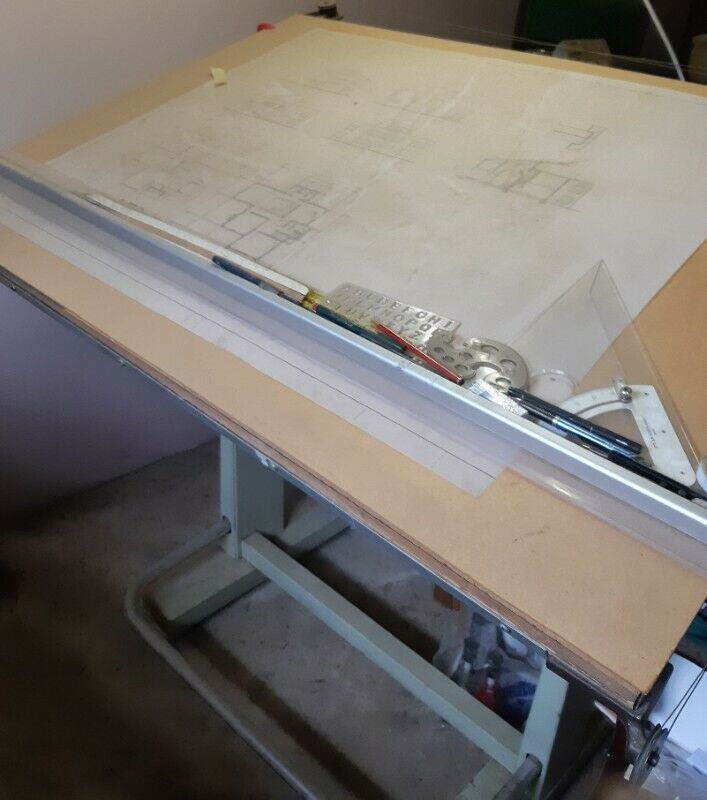 Drawing Board adjustable 1m 38cm width by 97cm R900 and Table with drawer 1m 60cm by 91cm R600