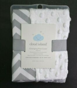 Cloud-Island-Baby-Changing-Pad-Cover-Cevron-White-Gray-Wipeable-Oeko-Tex-New