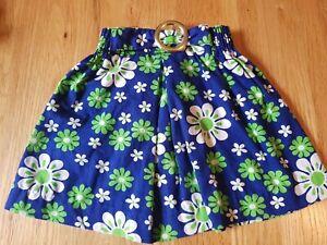 Retro 60s/70s Look Blue Green Big Daisy Look Babys Linen Skirt By Cuckoo Size1