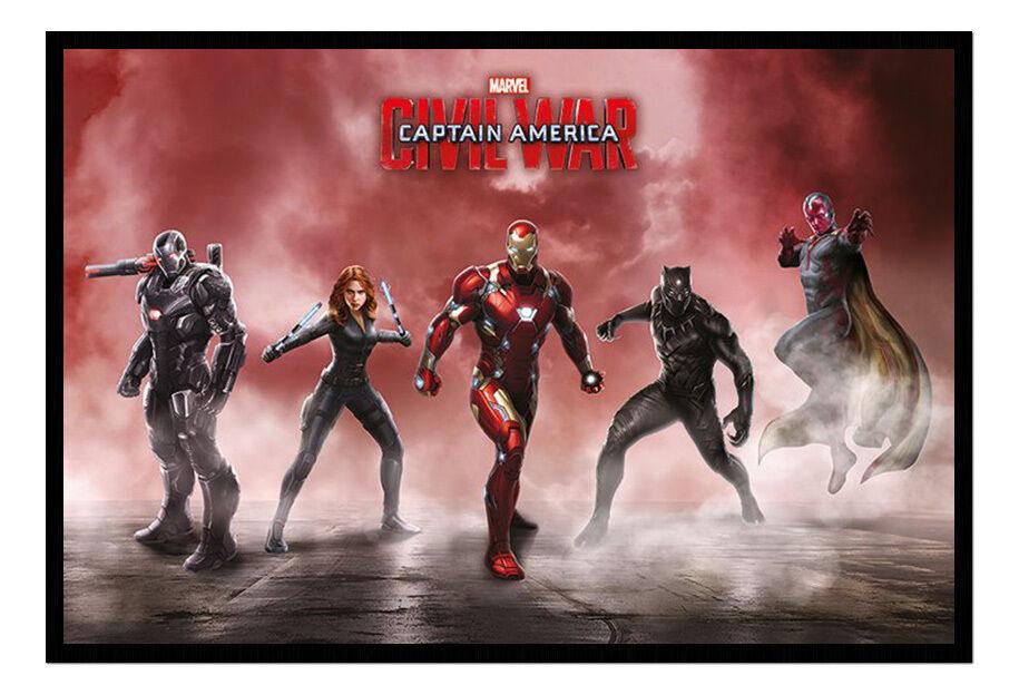 Captain America Civil War Team Iron Man Framed Cork Pin Notice Board With Pins