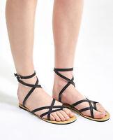 Womens Roman Cross Wrap Sandal Sandals Flat Black Thong Size 8