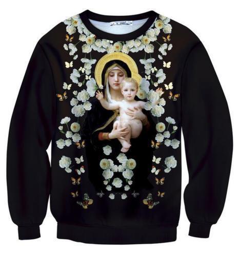 New Fashion Men// Womens Jesu Virgin Mary novelty Funny 3D Print Sweatshirt BR14